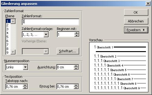 Gliederungsnummern für Überschriften | Diplom-Reader | Holger Matthes