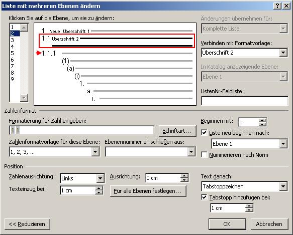 Word formatvorlage nummerierung schopf maschinenbau