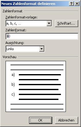 """Im bereich """"nummerierungsbibliothek"""" können verschiedene"""